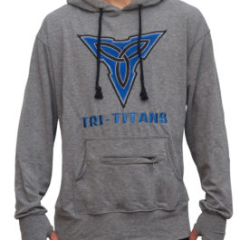 Tri-Titans Wrestling Hoodie Heather Gray and Blue Mind Body Spirit